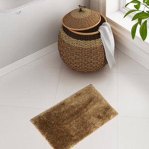 Mustard Brown Plush Bath Rug - Wooden Home Decor