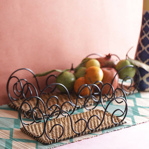 Hand-Painted Set of 2 Curvy Cane Bamboo Fruit & Vegetable Basket - Wooden Home Decor