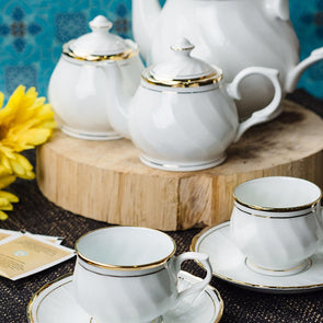 Set of 15 Solid Bone China Tea Set with Real Gold Line - Wooden Home Decor