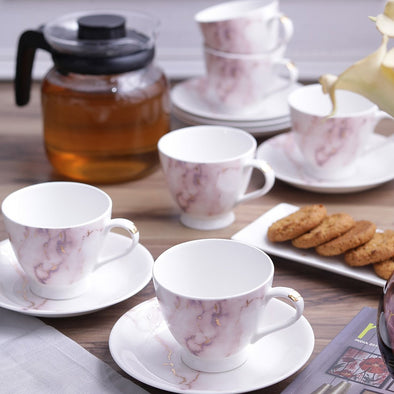 White 12-Pieces Printed Bone China Cups and Saucers Set - Wooden Home Decor