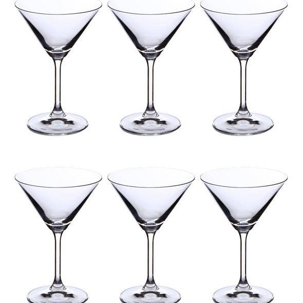 Set of 6 Lara Martini Glass 210ml - Wooden Home Decor