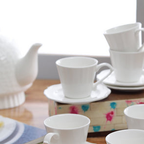 White 12-Pieces Textured Ceramic Cups and Saucers Set - Wooden Home Decor