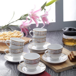 White 12 Pieces Printed Cup and Saucer Set With 24 Carat Gold Plating - Wooden Home Decor