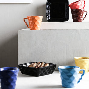 Multicoloured 8-Pieces Textured Ceramic Cups Set - Wooden Home Decor
