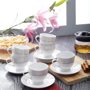 White Printed 12 PC Porcelain Cups & Saucers Set with 24 Carat Gold Plating - Wooden Home Decor