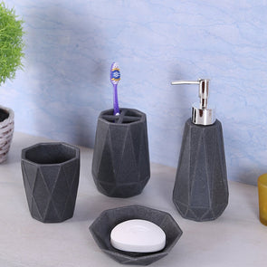 Grey Set of 4 Bathroom Accessories - Wooden Home Decor