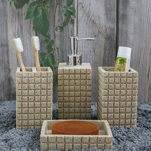 Set Of 4 Cream-Coloured Polyresin Bath Accessories - Wooden Home Decor