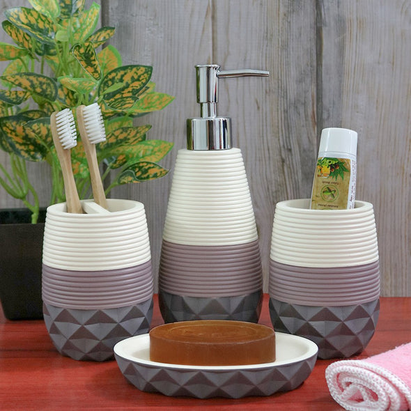 Set Of 4 White & Grey Polyresin Bath Accessories - Wooden Home Decor