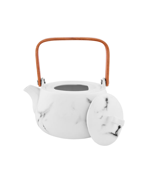 White Printed Ceramic Tea Set - Wooden Home Decor
