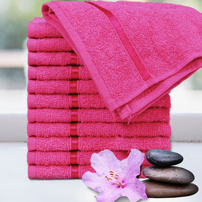 Set of 12 Pink 450 GSM Face Towels - Wooden Home Decor