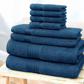 Set of 8 600 GSM Cotton Bath Towel Set - Wooden Home Decor