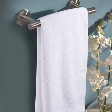 White Solid Bath Towel - Wooden Home Decor