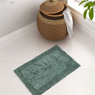 Youthopia Green Rectangular Cotton Bath Rug - Wooden Home Decor