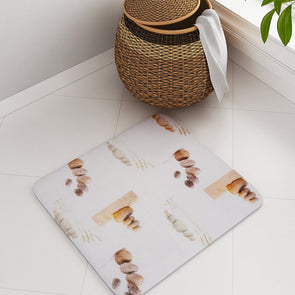 White Printed Rectangular Bath Rug - Wooden Home Decor