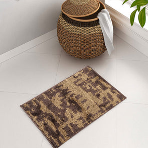 Brown Patterned Plush Bath Rug - Wooden Home Decor