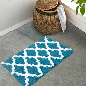 Blue & White Anti-Skid Bath Rug - Wooden Home Decor