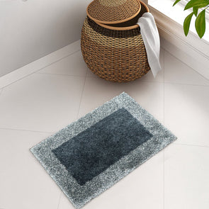 Teal Blue Colourblocked Bath Rug - Wooden Home Decor