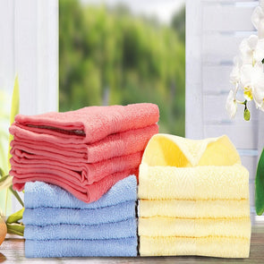 Peach, Blue & Yellow Solid Set Of 12 Towels - Wooden Home Decor