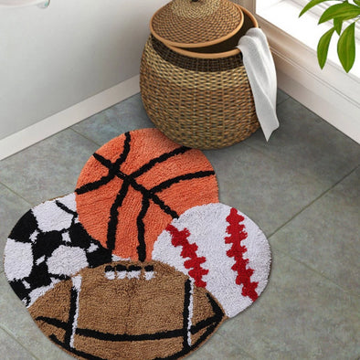 Kids Multicoloured Play Balls-Shaped Cotton Bath Rug - Wooden Home Decor