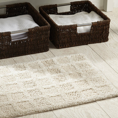Beige Checked Cotton Rectangular Bath Rug - Wooden Home Decor