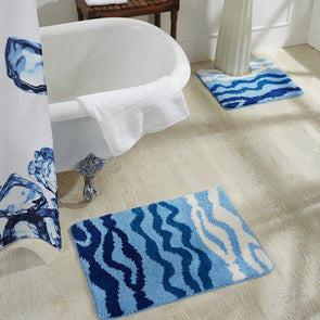 Blue Set Of 2 Rectangular Bath Rugs - Wooden Home Decor
