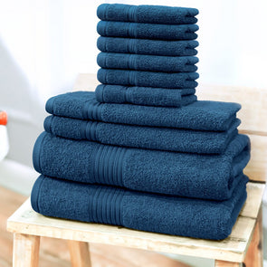Unisex 630 GSM 10 Piece 100% Cotton Bath Towel Set - Wooden Home Decor