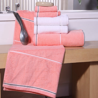 Set of 4 Coral-Coloured & WHite 500GSM Towels Set - Wooden Home Decor