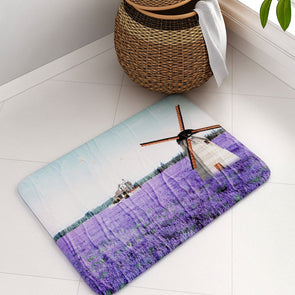 urple & Sea Green Printed Rectangular Bath Rug - Wooden Home Decor