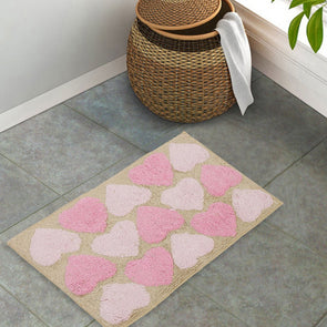 Beige & Pink Printed Bath Mat - Wooden Home Decor