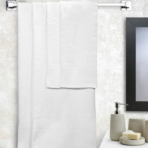 Set of 4 White Cotton 380 GSM Towels - Wooden Home Decor