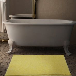 Yellow Solid 2355 GSM Rectangular Bath Rug - Wooden Home Decor