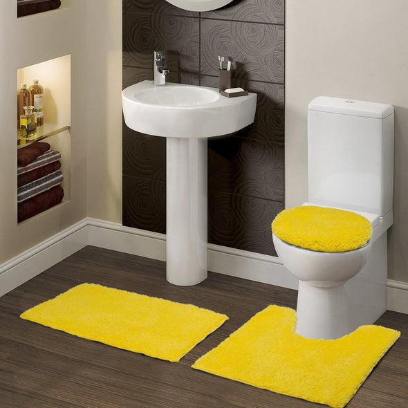 Contour Set of 3 Yellow Bath Rugs - Wooden Home Decor