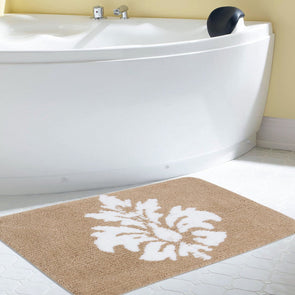 Beige & White Rectangular Bath Rug - Wooden Home Decor