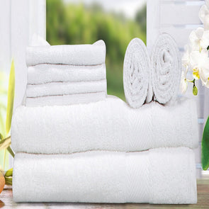 Set of 8 White 400 GSM Cotton Towels - Wooden Home Decor