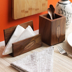 Hand-Painted Brown Textured Elliptic Leaf Wooden Tissue & Cutlery Holder Set - Wooden Home Decor