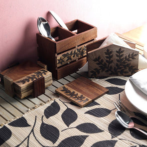 Brown Set Of 3 Textured Wood Tableware - Wooden Home Decor