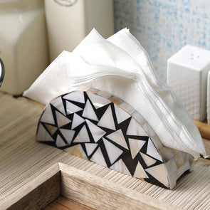 White & Black Sea Shell Handcrafted Tissue Holder - Wooden Home Decor