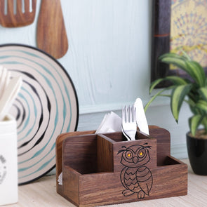 Hand-Painted Wise Owl Divided Tissue and Cutlery Holder - Wooden Home Decor