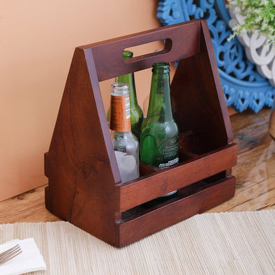 Brown Wooden Handicraft Beer Caddy - Wooden Home Decor