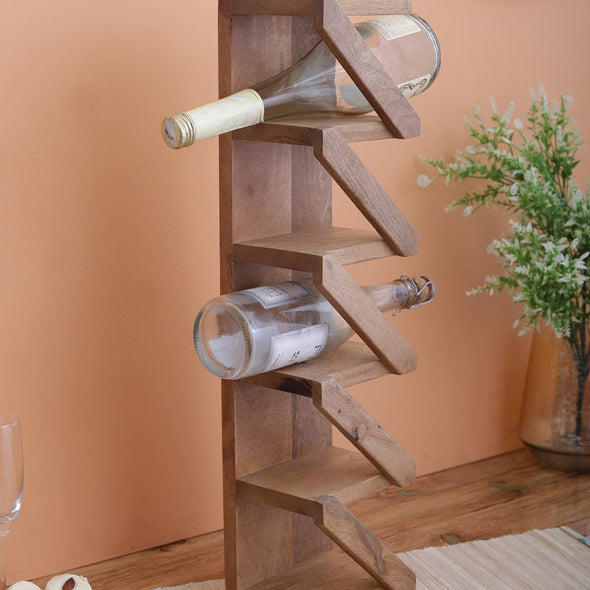 Brown Wooden Handicraft Wine Stand - Wooden Home Decor