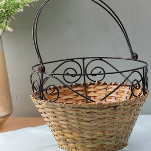 Black & Brown Textured Bamboo Fruit Basket - Wooden Home Decor