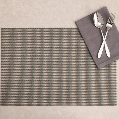 Set of 6 Grey Textured Rectangular Table Placemats - Wooden Home Decor