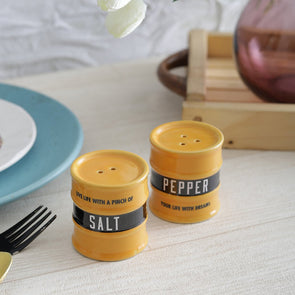 Set Of 2 Yellow Barrel Salt & Pepper Jars - Wooden Home Decor