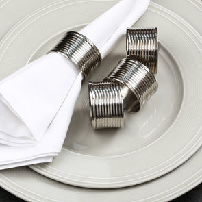 Silver-Toned Set of 6 Napkin Rings - Wooden Home Decor
