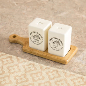 Ceramic Salt and Pepper Set with Bamboo Holder - Wooden Home Decor