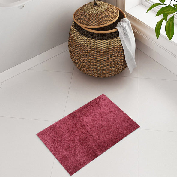 Red Solid Plush Bath Rug - Wooden Home Decor