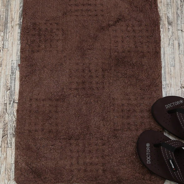 Brown Solid Anti Skid Bath Rug - Wooden Home Decor
