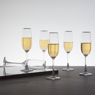OCEAN Round Champagne Flute-Set Of 6 Pcs. - Wooden Home Decor