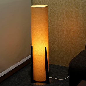 Gold Fabric Floor Lamp - Wooden Home Decor