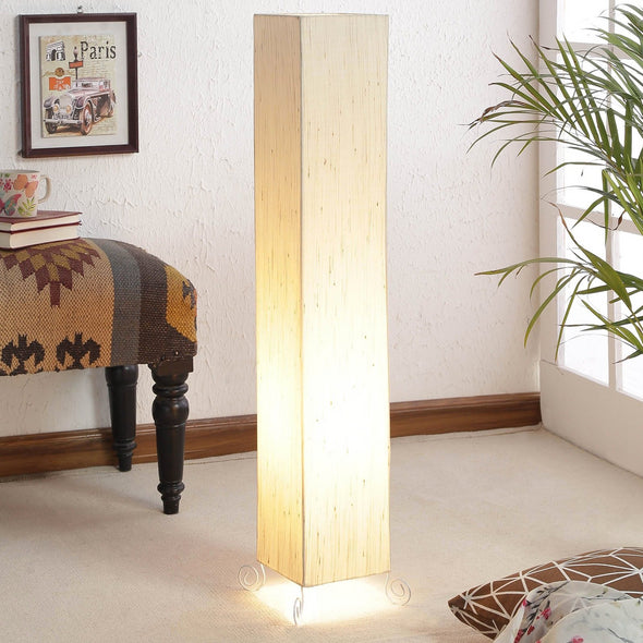 Beige Poly Cotton Floor Lamp - Wooden Home Decor